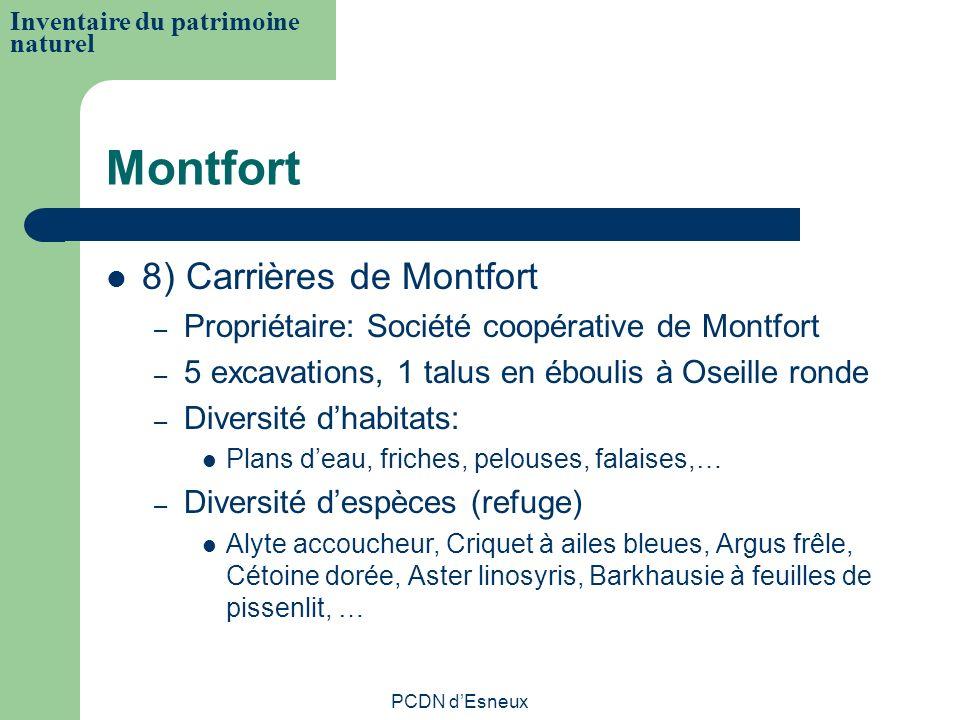 Montfort 8) Carrières de Montfort – Propriétaire: Société coopérative de Montfort – 5 excavations, 1 talus en éboulis à Oseille ronde – Diversité dhab