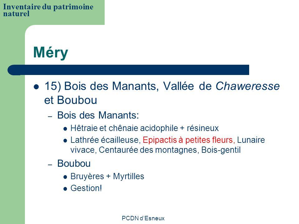 Méry 15) Bois des Manants, Vallée de Chaweresse et Boubou – Bois des Manants: Hêtraie et chênaie acidophile + résineux Lathrée écailleuse, Epipactis à