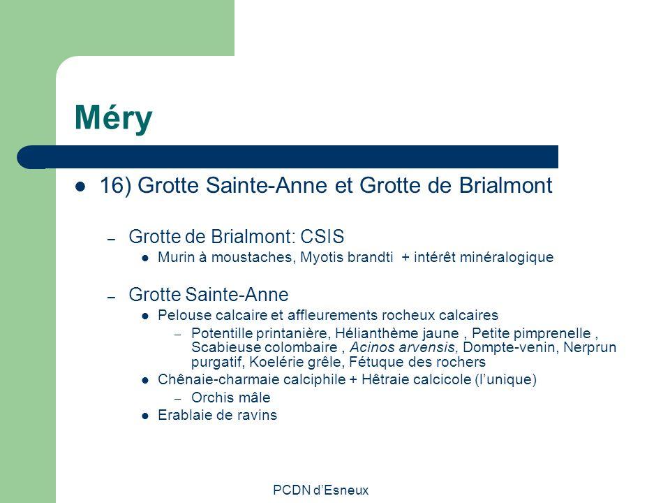 Méry 16) Grotte Sainte-Anne et Grotte de Brialmont – Grotte de Brialmont: CSIS Murin à moustaches, Myotis brandti + intérêt minéralogique – Grotte Sai