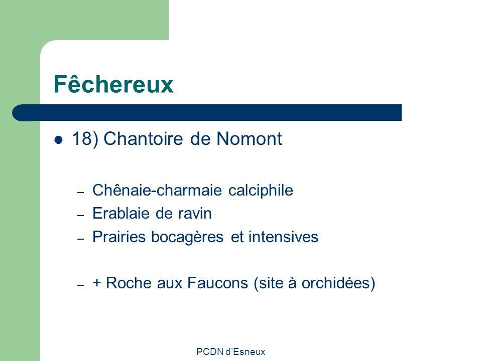 Fêchereux 18) Chantoire de Nomont – Chênaie-charmaie calciphile – Erablaie de ravin – Prairies bocagères et intensives – + Roche aux Faucons (site à o