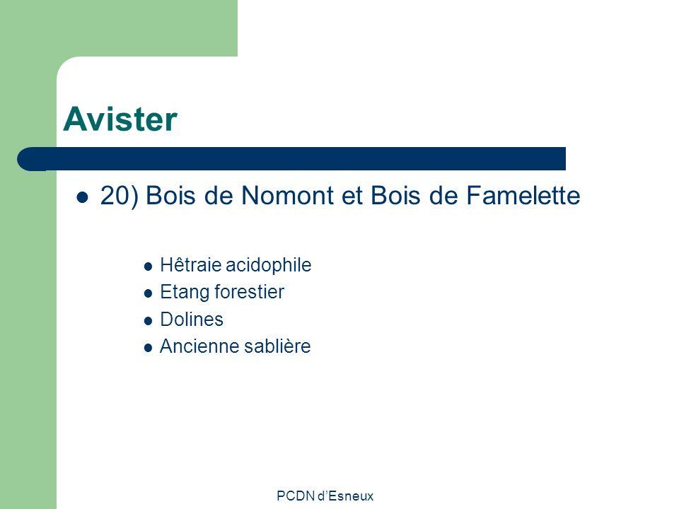 Avister 20) Bois de Nomont et Bois de Famelette Hêtraie acidophile Etang forestier Dolines Ancienne sablière PCDN dEsneux