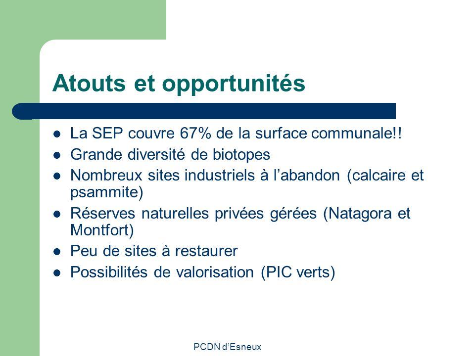 Atouts et opportunités La SEP couvre 67% de la surface communale!! Grande diversité de biotopes Nombreux sites industriels à labandon (calcaire et psa