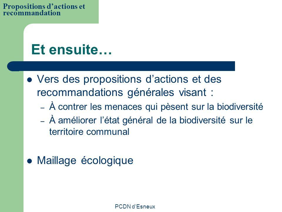 Et ensuite… Vers des propositions dactions et des recommandations générales visant : – À contrer les menaces qui pèsent sur la biodiversité – À amélio