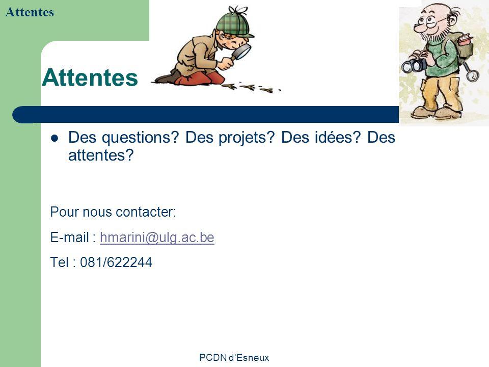 PCDN dEsneux Attentes Des questions? Des projets? Des idées? Des attentes? Pour nous contacter: E-mail : hmarini@ulg.ac.behmarini@ulg.ac.be Tel : 081/
