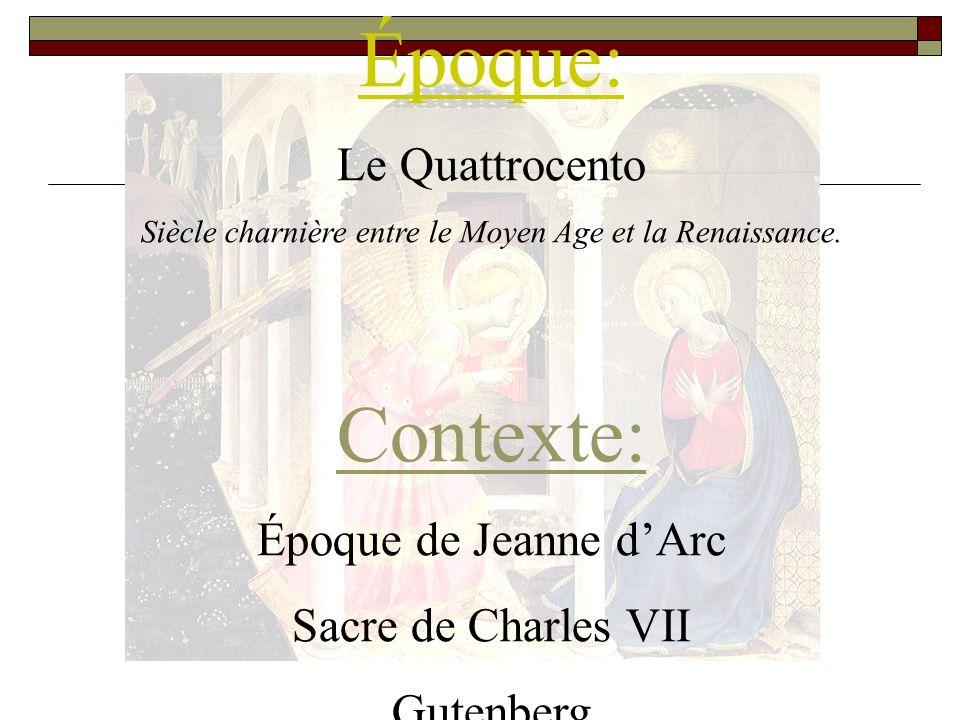 Époque: Le Quattrocento Siècle charnière entre le Moyen Age et la Renaissance.