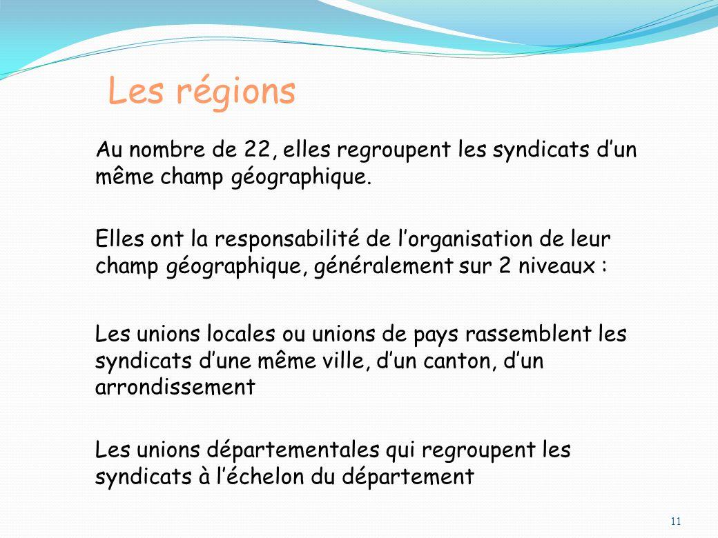 11 Les régions Au nombre de 22, elles regroupent les syndicats dun même champ géographique. Les unions locales ou unions de pays rassemblent les syndi