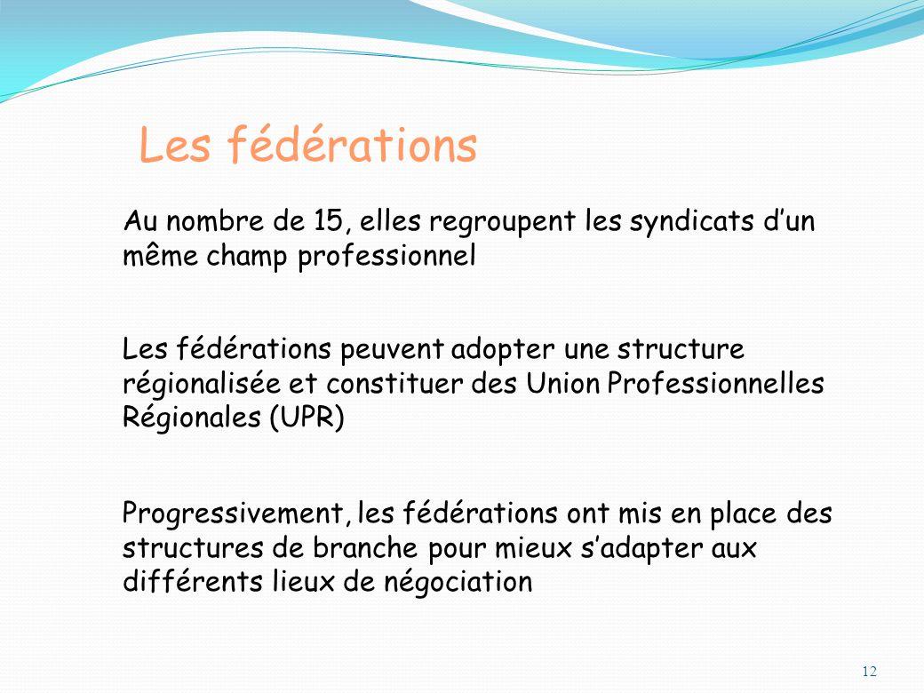 12 Les fédérations Au nombre de 15, elles regroupent les syndicats dun même champ professionnel Progressivement, les fédérations ont mis en place des