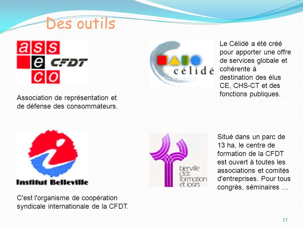 15 Des outils Association de représentation et de défense des consommateurs. C'est l'organisme de coopération syndicale internationale de la CFDT. Le