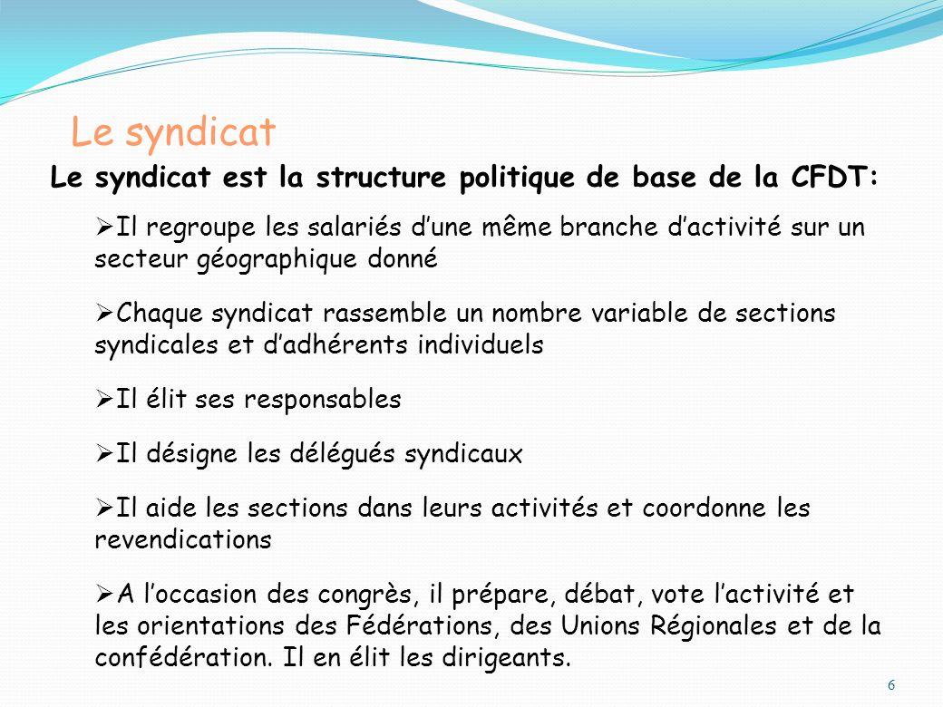 Le syndicat 6 Le syndicat est la structure politique de base de la CFDT: Il regroupe les salariés dune même branche dactivité sur un secteur géographi
