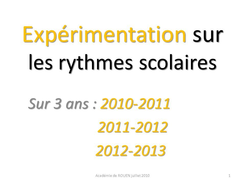 Expérimentation sur les rythmes scolaires Sur 3 ans : 2010-2011 Sur 3 ans : 2010-2011 2011-2012 2011-2012 2012-2013 2012-2013 1Académie de ROUEN juill