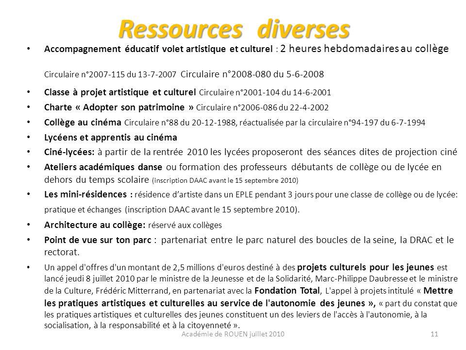 Ressources diverses Accompagnement éducatif volet artistique et culturel : 2 heures hebdomadaires au collège Circulaire n°2007-115 du 13-7-2007 Circul