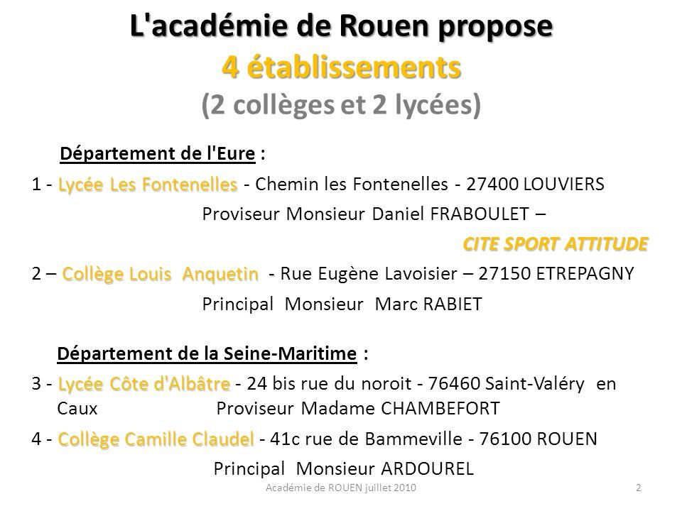 L'académie de Rouen propose 4 établissements L'académie de Rouen propose 4 établissements (2 collèges et 2 lycées) Département de l'Eure : Lycée Les F