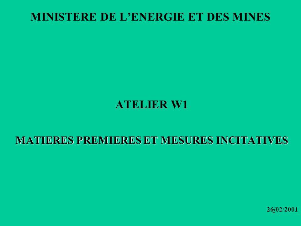 2 MINISTERE DE LENERGIE ET DES MINES ATELIER W1 MATIERES PREMIERES ET MESURES INCITATIVES 26/02/2001