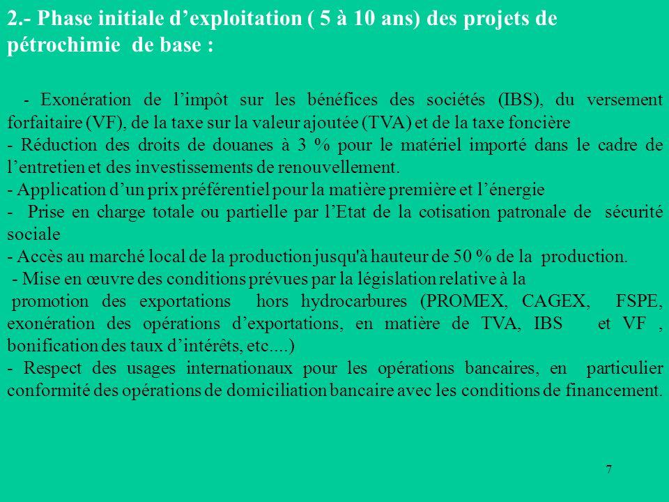 7 2.- Phase initiale dexploitation ( 5 à 10 ans) des projets de pétrochimie de base : - Exonération de limpôt sur les bénéfices des sociétés (IBS), du