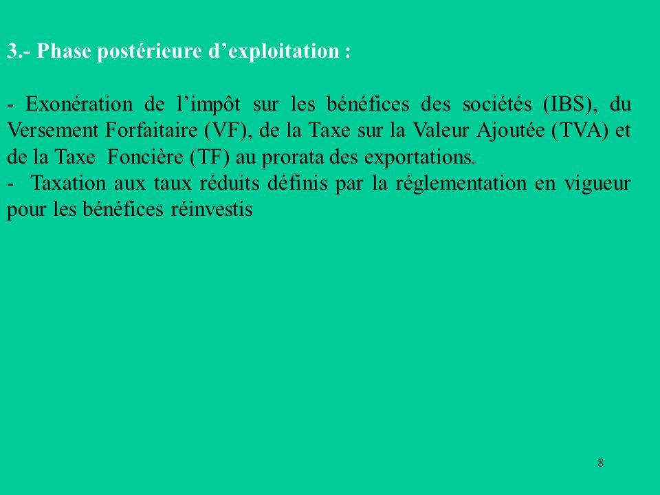 8 3.- Phase postérieure dexploitation : - Exonération de limpôt sur les bénéfices des sociétés (IBS), du Versement Forfaitaire (VF), de la Taxe sur la Valeur Ajoutée (TVA) et de la Taxe Foncière (TF) au prorata des exportations.