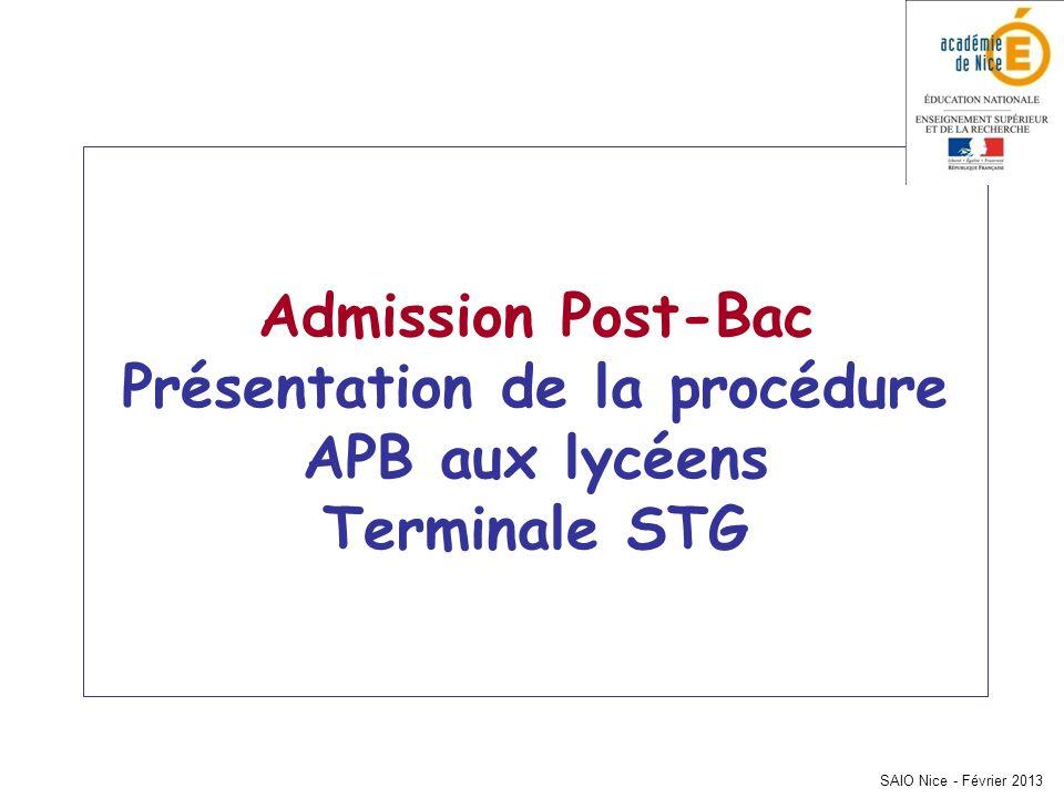 SAIO Nice - Février 2013 Admission Post-Bac Présentation de la procédure APB aux lycéens Terminale STG