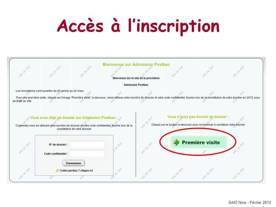 Accès à linscription SAIO Nice - Février 2013