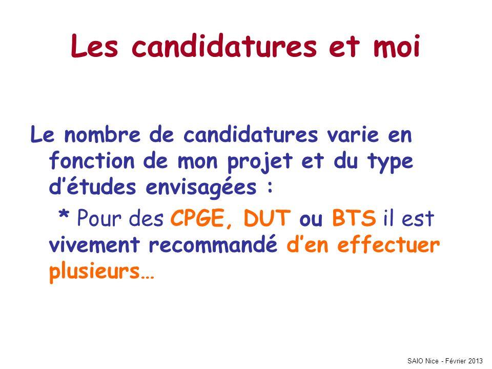 SAIO Nice - Février 2013 Les candidatures et moi Le nombre de candidatures varie en fonction de mon projet et du type détudes envisagées : * Pour des