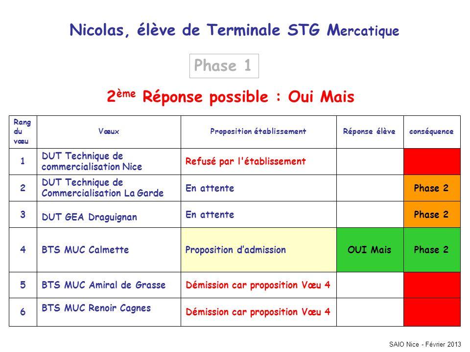 SAIO Nice - Février 2013 Phase 2 Démission car proposition Vœu 4 BTS MUC Renoir Cagnes 6 Démission car proposition Vœu 4BTS MUC Amiral de Grasse5 OUI