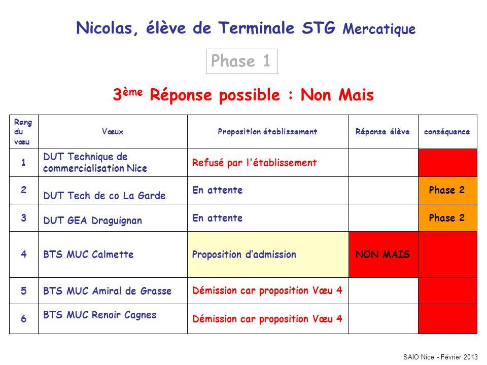 SAIO Nice - Février 2013 Phase 2 Démission car proposition Vœu 4 BTS MUC Renoir Cagnes 6 Démission car proposition Vœu 4BTS MUC Amiral de Grasse5 NON