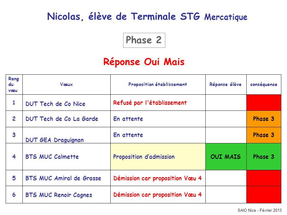 SAIO Nice - Février 2013 Phase 3 Démission car proposition Vœu 4 BTS MUC Renoir Cagnes 6 Démission car proposition Vœu 4BTS MUC Amiral de Grasse5 OUI