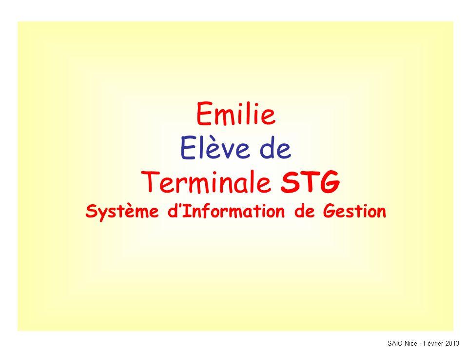 Emilie Elève de Terminale STG Système dInformation de Gestion SAIO Nice - Février 2013