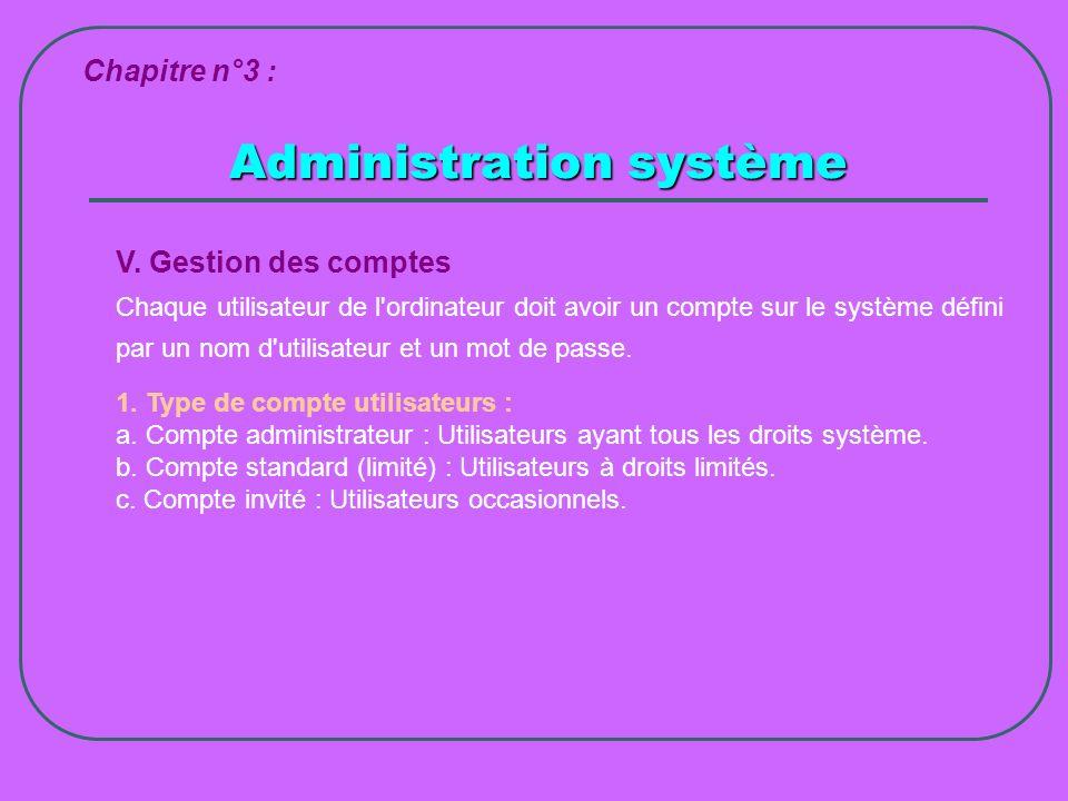 Administration système Chapitre n°3 : V. Gestion des comptes Chaque utilisateur de l'ordinateur doit avoir un compte sur le système défini par un nom