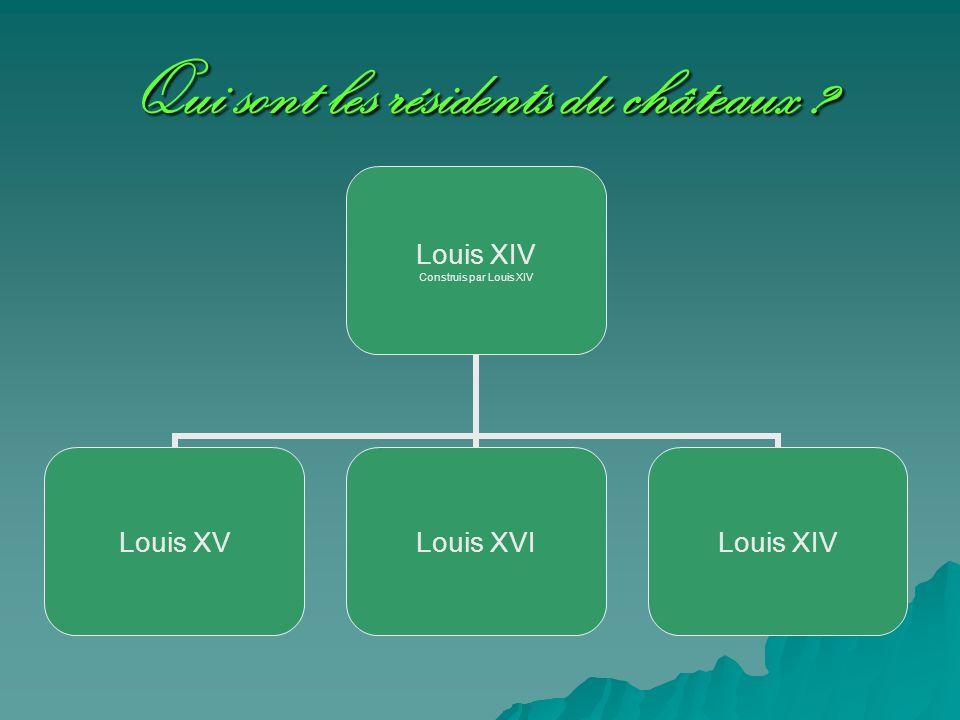Qui sont les résidents du châteaux ? Louis XIV Construis par Louis XIV Louis XVLouis XVILouis XIV
