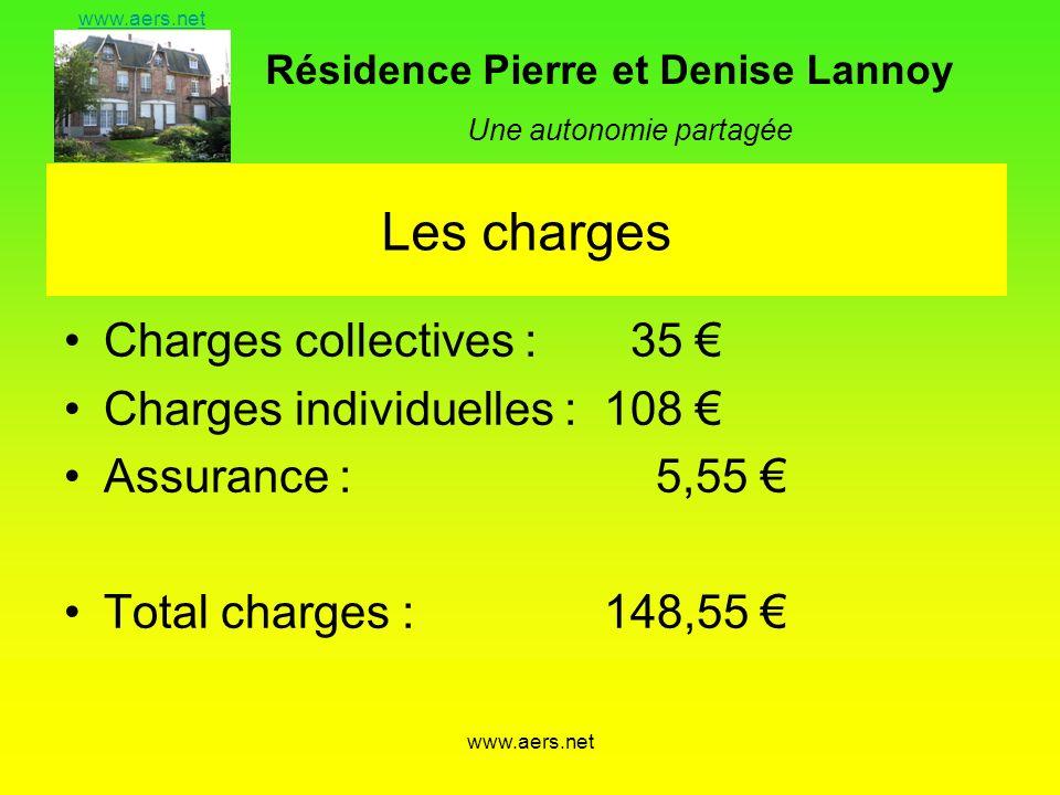Résidence Pierre et Denise Lannoy Une autonomie partagée www.aers.net Les charges Charges collectives : 35 Charges individuelles : 108 Assurance : 5,5