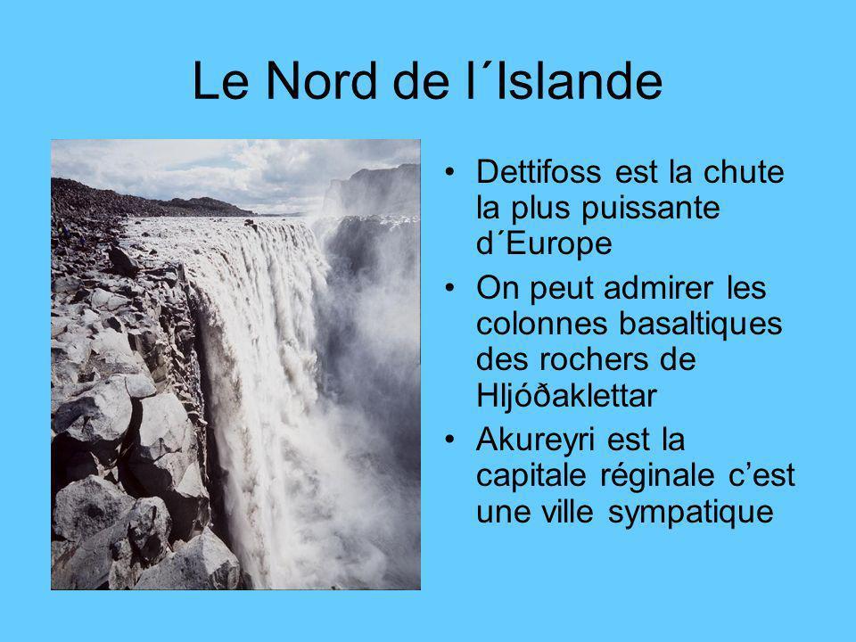 Le Nord de l´Islande Dettifoss est la chute la plus puissante d´Europe On peut admirer les colonnes basaltiques des rochers de Hljóðaklettar Akureyri