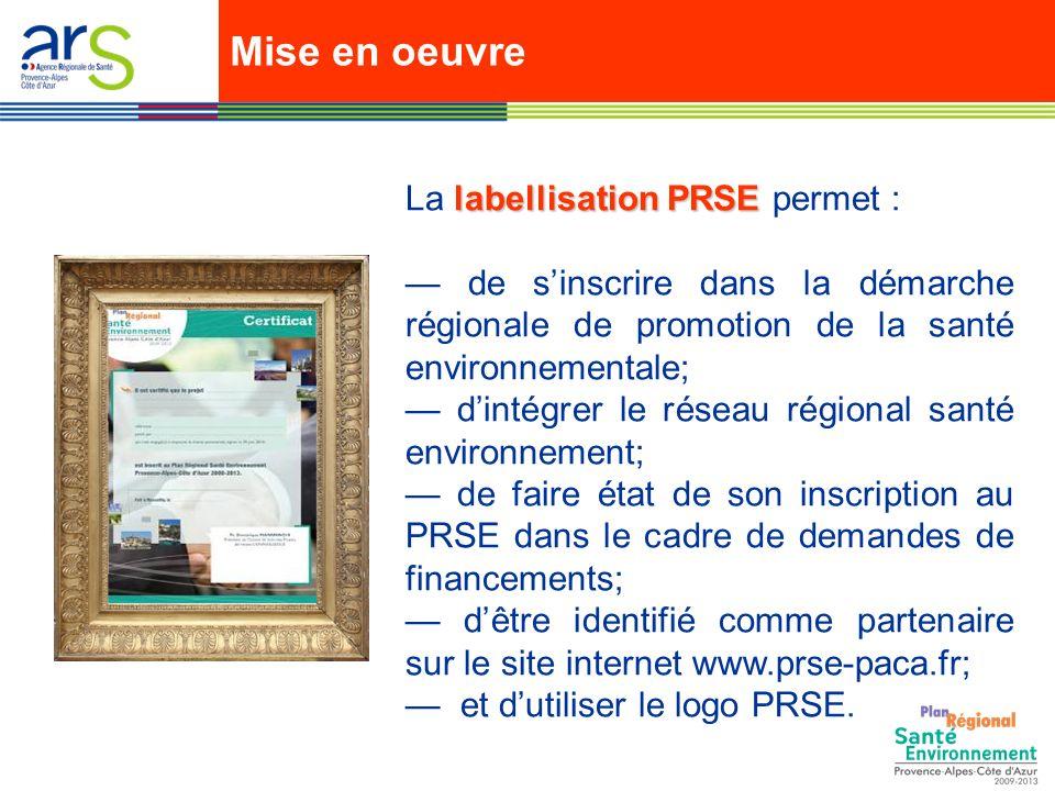 labellisation PRSE La labellisation PRSE permet : de sinscrire dans la démarche régionale de promotion de la santé environnementale; dintégrer le réseau régional santé environnement; de faire état de son inscription au PRSE dans le cadre de demandes de financements; dêtre identifié comme partenaire sur le site internet www.prse-paca.fr; et dutiliser le logo PRSE.