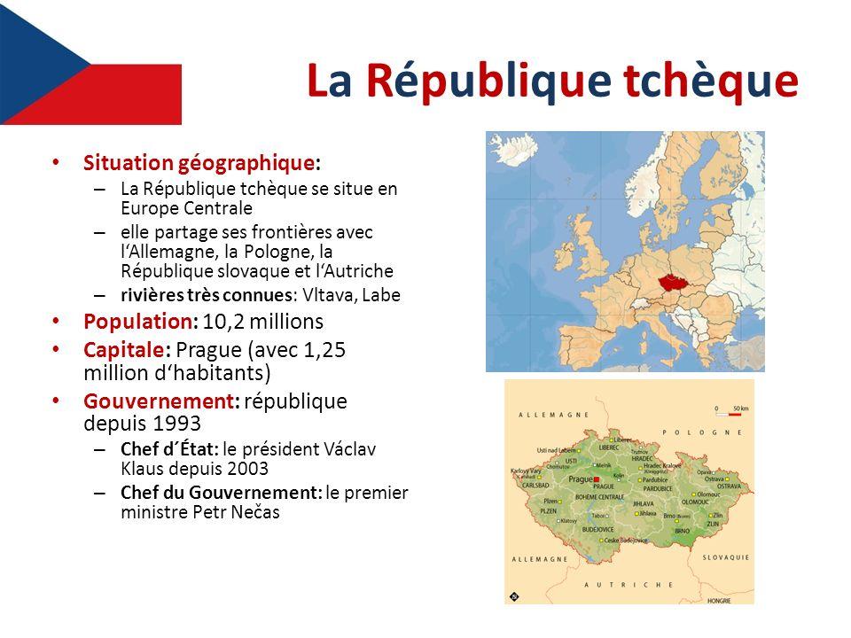 La République tchèqueLa République tchèque Situation géographique: – La République tchèque se situe en Europe Centrale – elle partage ses frontières a