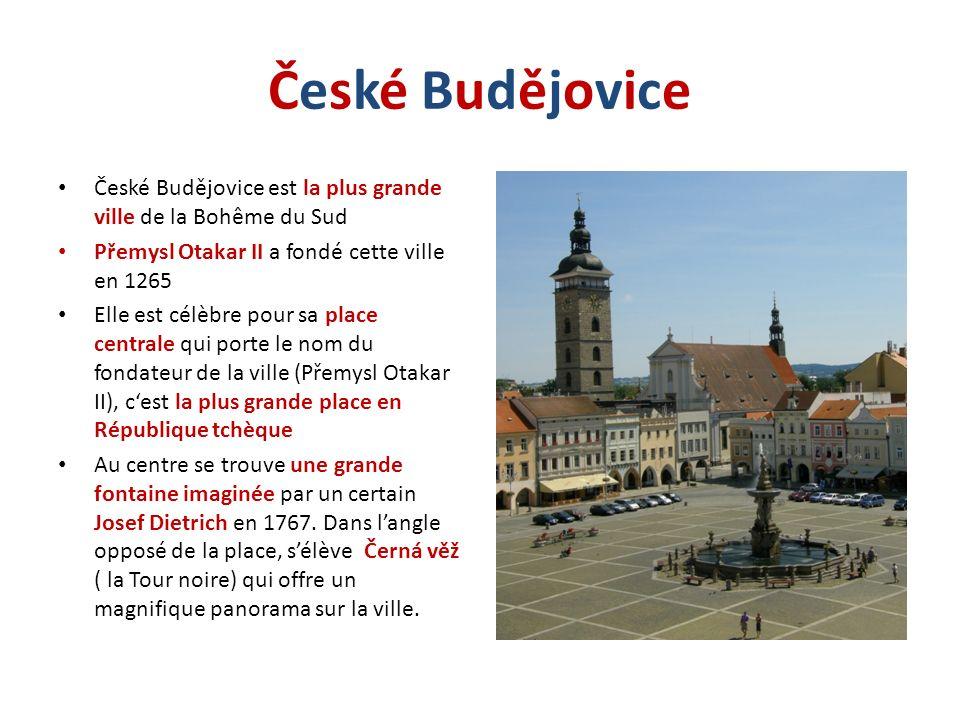 České BudějoviceČeské Budějovice České Budějovice est la plus grande ville de la Bohême du Sud Přemysl Otakar II a fondé cette ville en 1265 Elle est