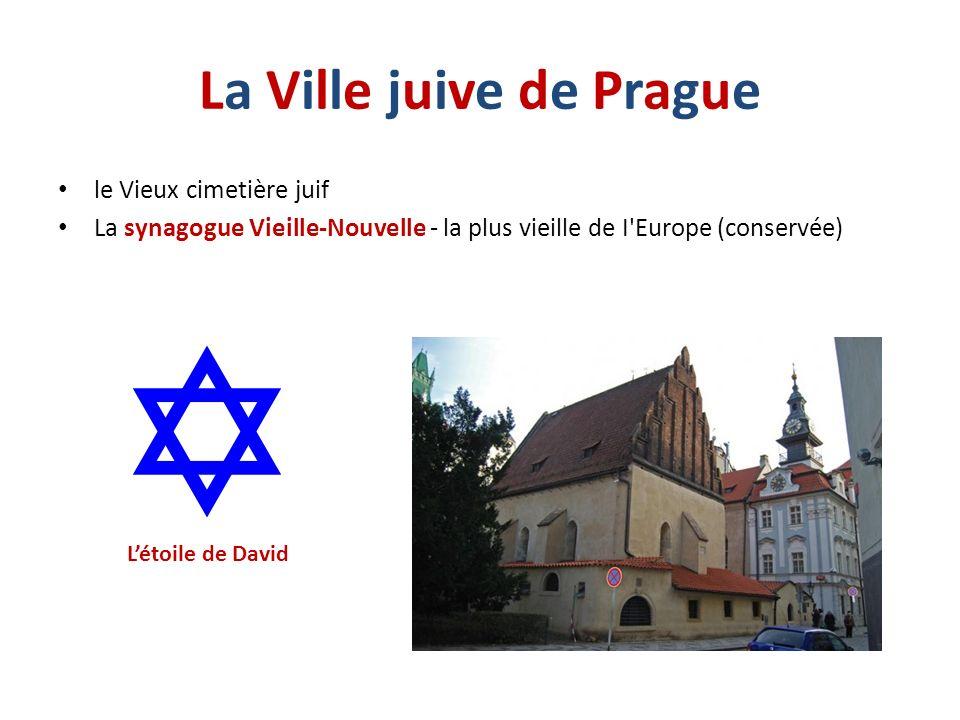 La Ville juive de PragueLa Ville juive de Prague le Vieux cimetière juif La synagogue Vieille-Nouvelle - la plus vieille de I'Europe (conservée) Létoi