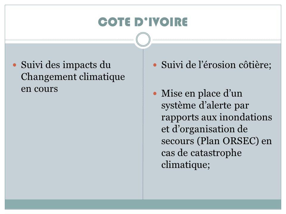 Suivi des impacts du Changement climatique en cours Suivi de lérosion côtière; Mise en place dun système dalerte par rapports aux inondations et dorganisation de secours (Plan ORSEC) en cas de catastrophe climatique; COTE DIVOIRE