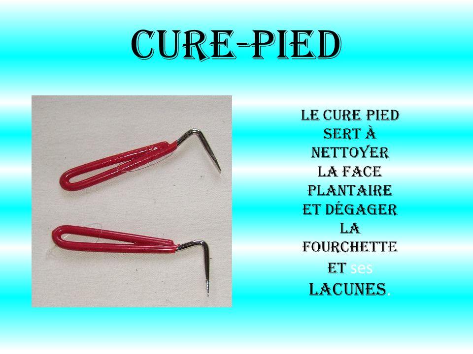 Cure-pied Le cure pied sert à nettoyer la face plantaire et dégager la fourchette et ses lacunes.
