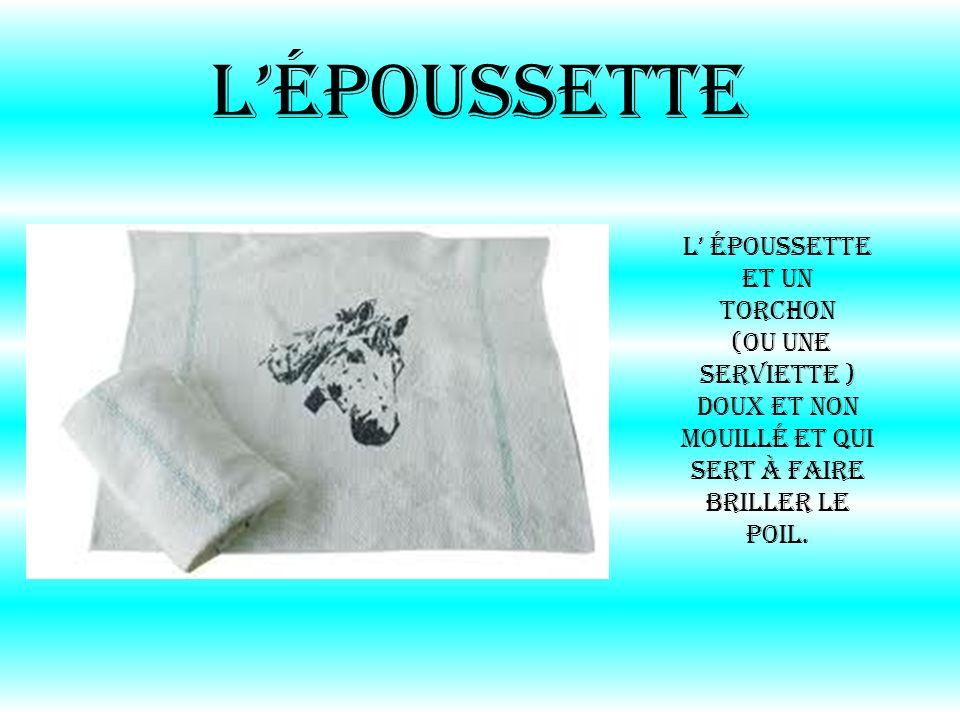 Lépoussette L époussette et un torchon (ou une serviette ) doux et non mouillé et qui sert à faire briller le poil.