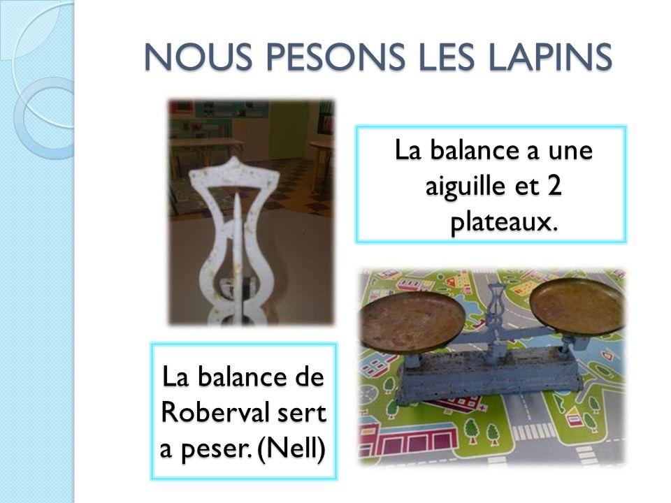 NOUS PESONS LES LAPINS La balance de Roberval sert a peser. (Nell)