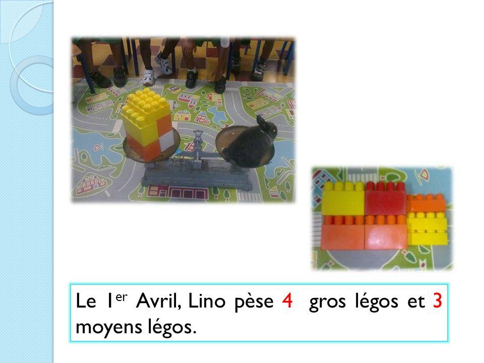 Le 1 er Avril, Lino pèse 4 gros légos et 3 moyens légos.