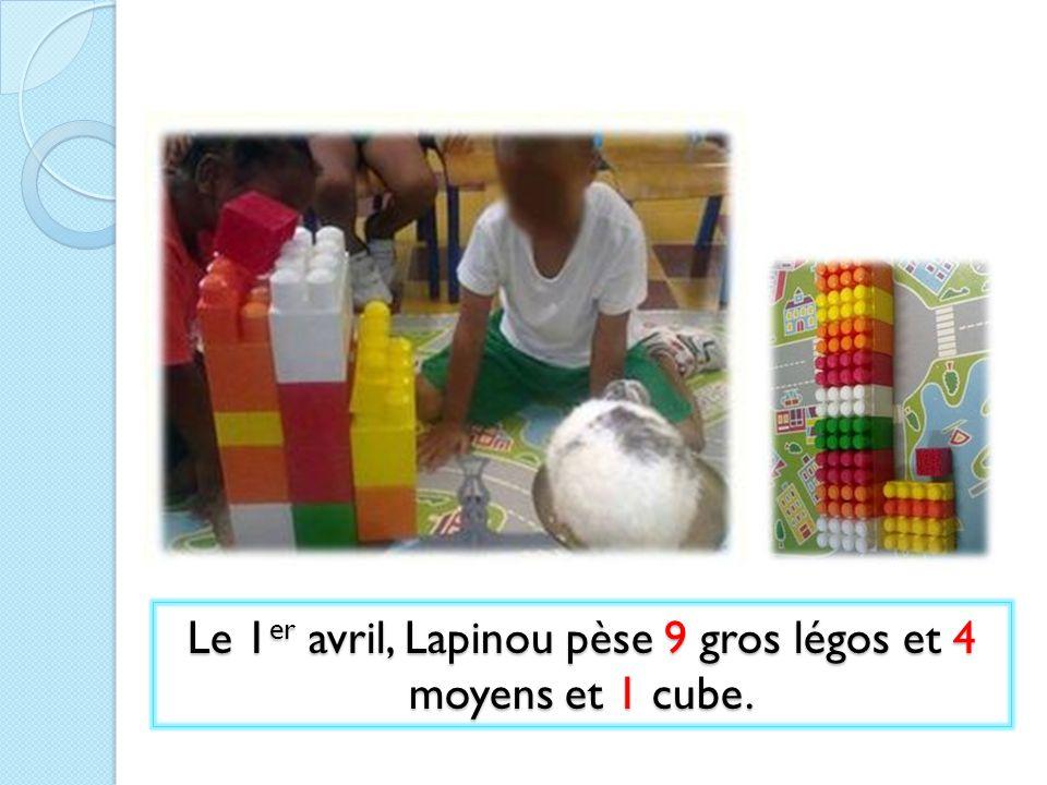 Le 1 er avril, Lapinou pèse 9 gros légos et 4 moyens et 1 cube.
