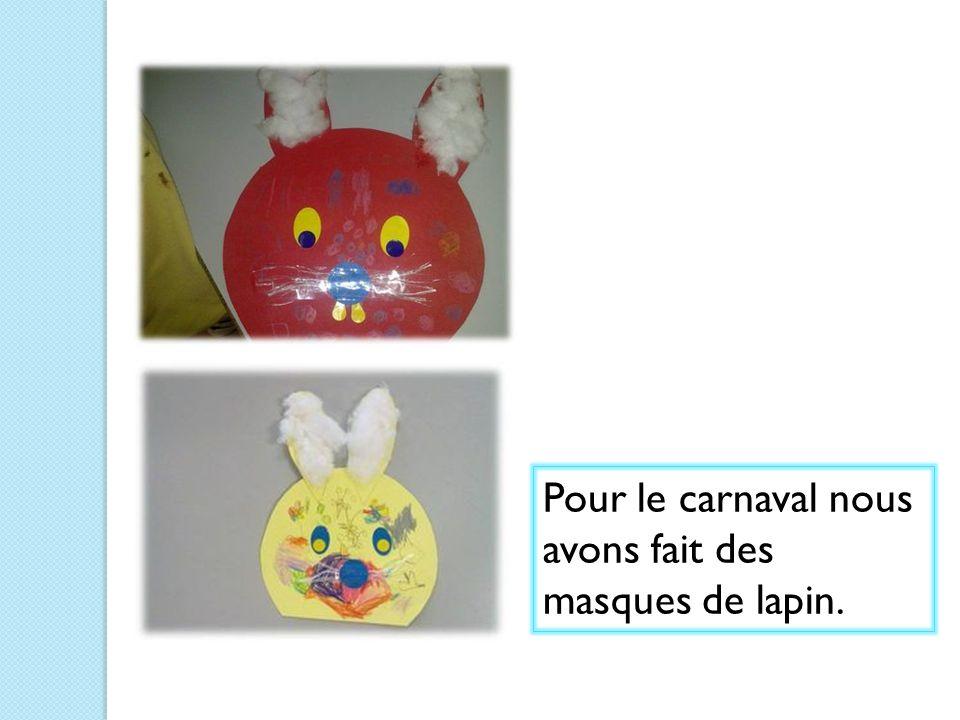 Pour le carnaval nous avons fait des masques de lapin.