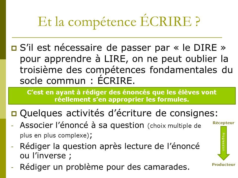 Et la compétence ÉCRIRE ? Sil est nécessaire de passer par « le DIRE » pour apprendre à LIRE, on ne peut oublier la troisième des compétences fondamen