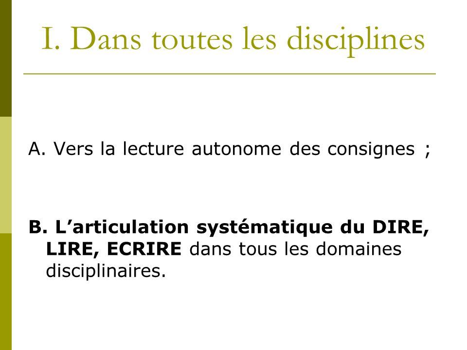 I. Dans toutes les disciplines A. Vers la lecture autonome des consignes ; B. Larticulation systématique du DIRE, LIRE, ECRIRE dans tous les domaines