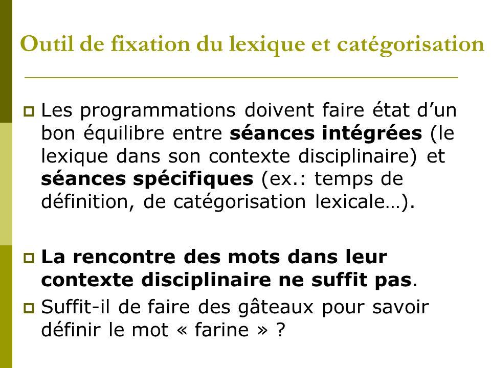 Outil de fixation du lexique et catégorisation Les programmations doivent faire état dun bon équilibre entre séances intégrées (le lexique dans son co