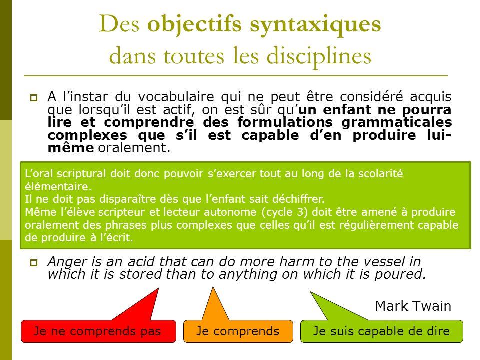 Des objectifs syntaxiques dans toutes les disciplines A linstar du vocabulaire qui ne peut être considéré acquis que lorsquil est actif, on est sûr qu