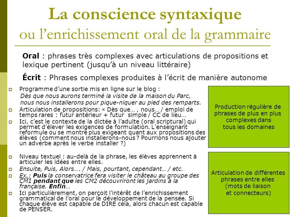 La conscience syntaxique ou lenrichissement oral de la grammaire Programme dune sortie mis en ligne sur le blog : Dès que nous aurons terminé la visit