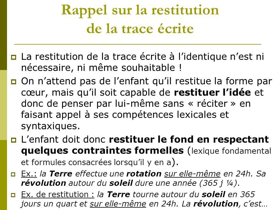 Rappel sur la restitution de la trace écrite La restitution de la trace écrite à lidentique nest ni nécessaire, ni même souhaitable ! On nattend pas d