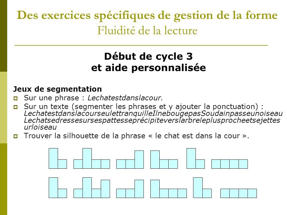 Début de cycle 3 et aide personnalisée Jeux de segmentation Sur une phrase : Lechatestdanslacour. Sur un texte (segmenter les phrases et y ajouter la