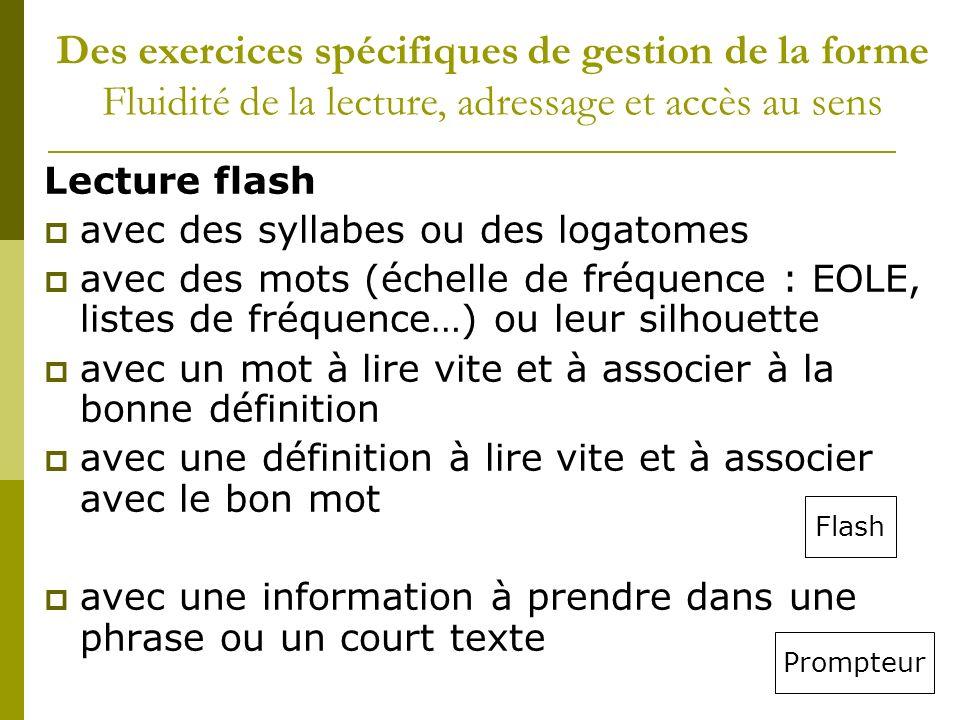 Lecture flash avec des syllabes ou des logatomes avec des mots (échelle de fréquence : EOLE, listes de fréquence…) ou leur silhouette avec un mot à li