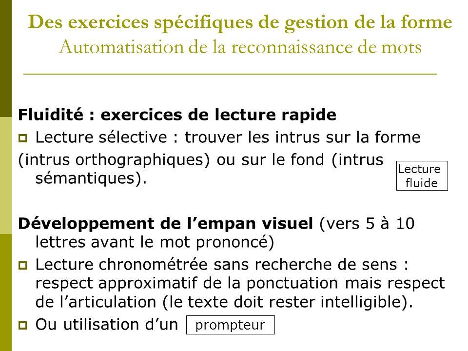 Des exercices spécifiques de gestion de la forme Automatisation de la reconnaissance de mots Fluidité : exercices de lecture rapide Lecture sélective